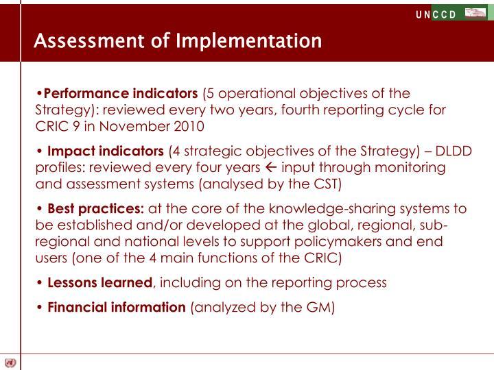 Assessment of Implementation