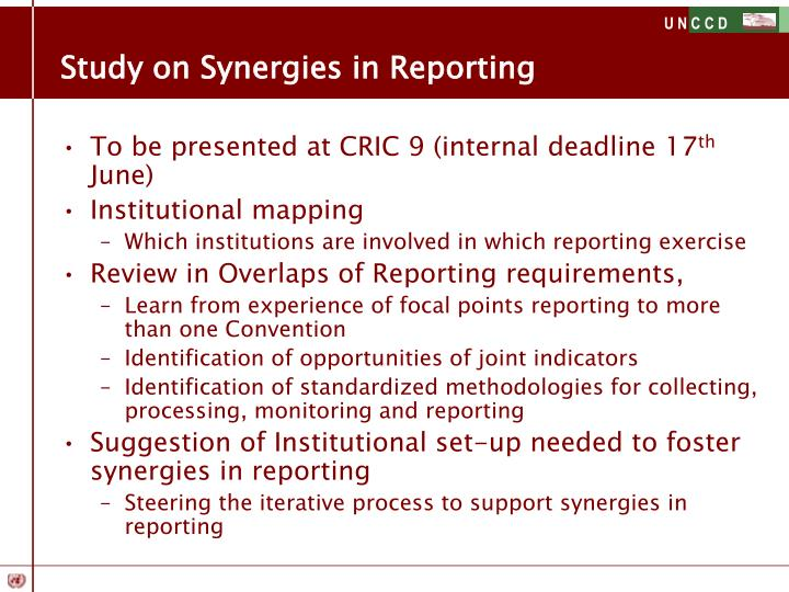 Study on Synergies in Reporting