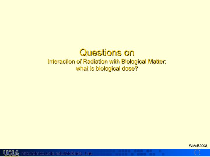 Questions on