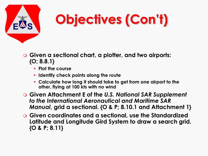 Objectives (Con't)