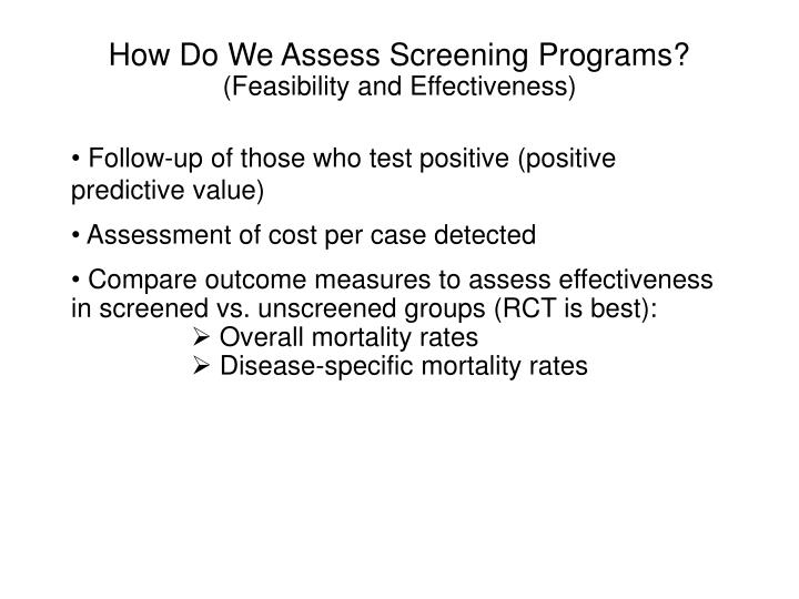 How Do We Assess Screening Programs?