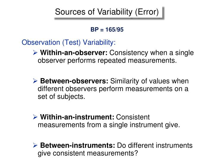 Sources of Variability (Error)