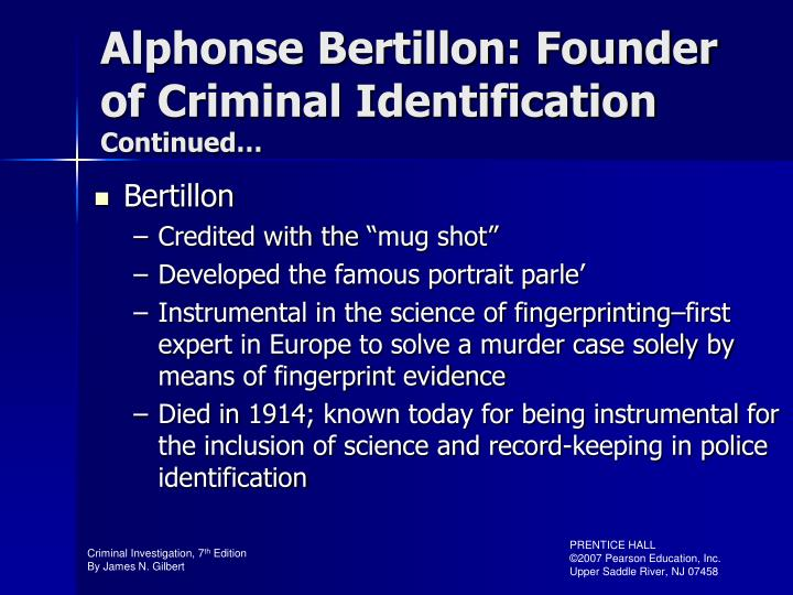 Alphonse Bertillon: Founder of Criminal Identification