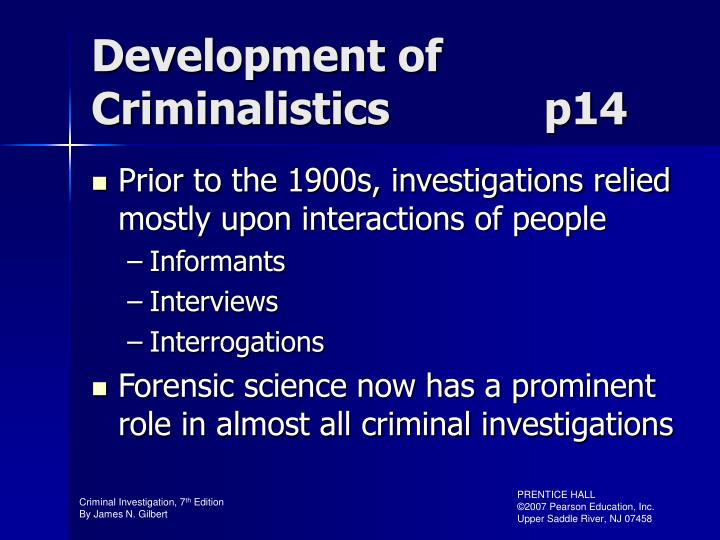Development of Criminalistics            p14