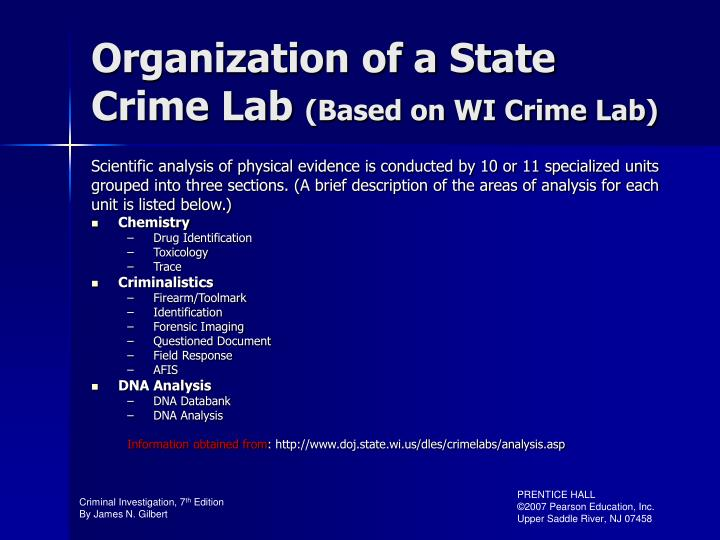 Organization of a State Crime Lab