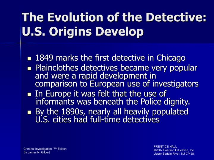 The Evolution of the Detective: U.S. Origins Develop