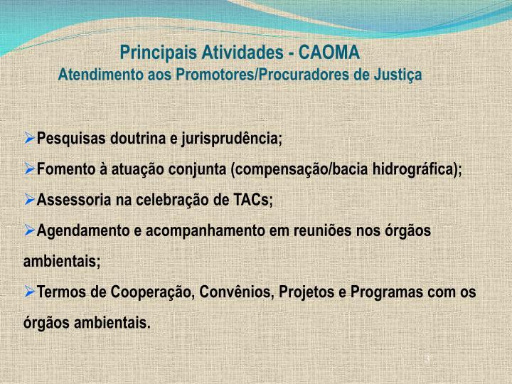 Principais Atividades - CAOMA
