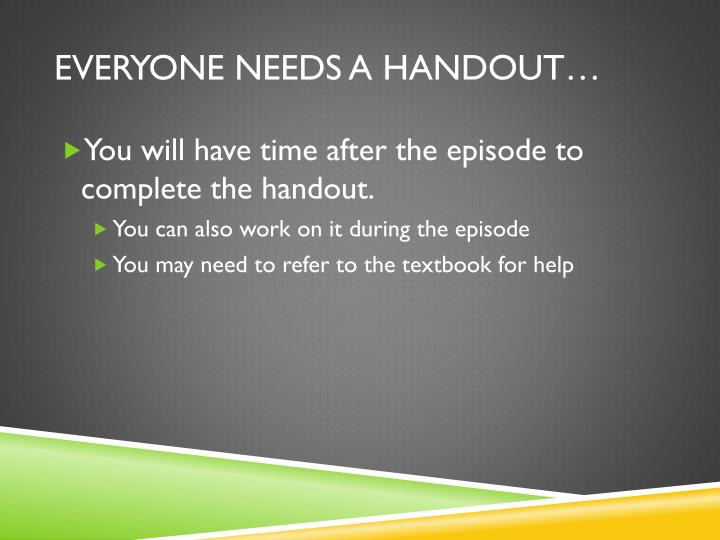 Everyone needs a handout…