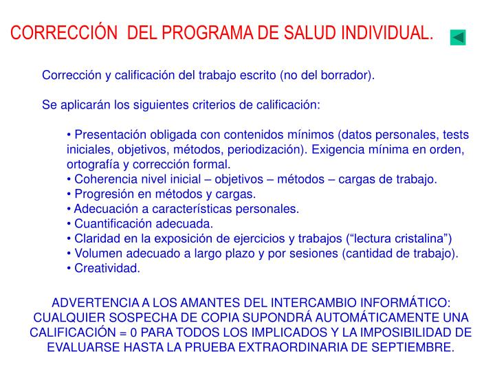 CORRECCIÓN  DEL PROGRAMA DE SALUD INDIVIDUAL.