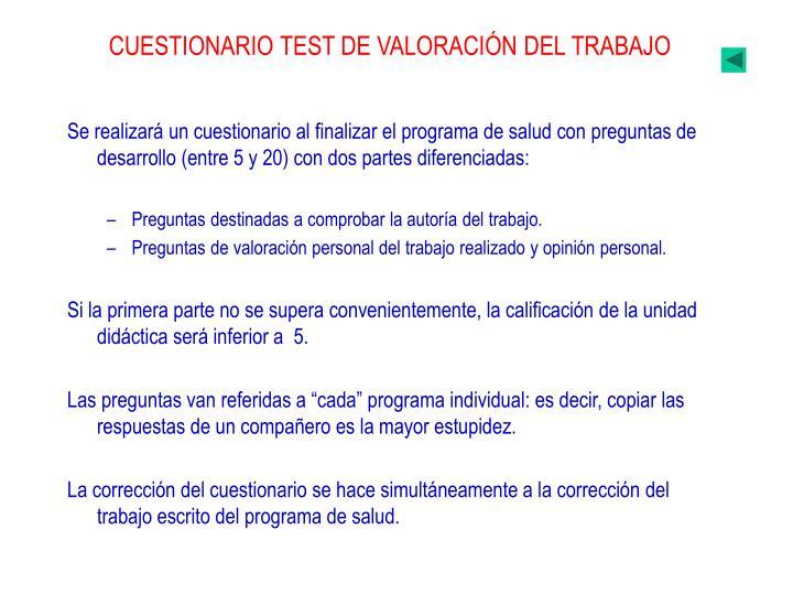 CUESTIONARIO TEST DE VALORACIÓN DEL TRABAJO