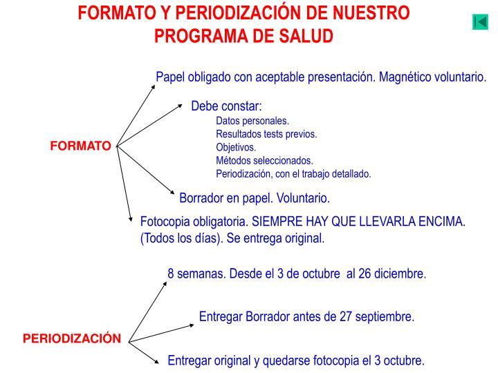 FORMATO Y PERIODIZACIÓN DE NUESTRO