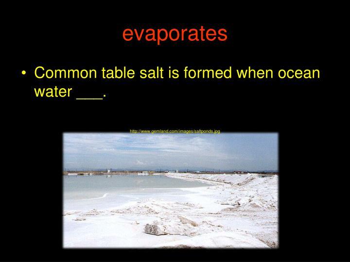 evaporates