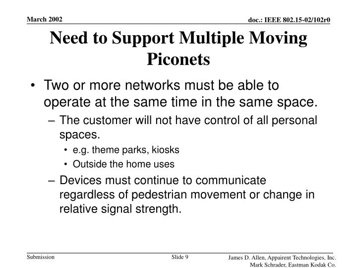 Need to Support Multiple Moving Piconets