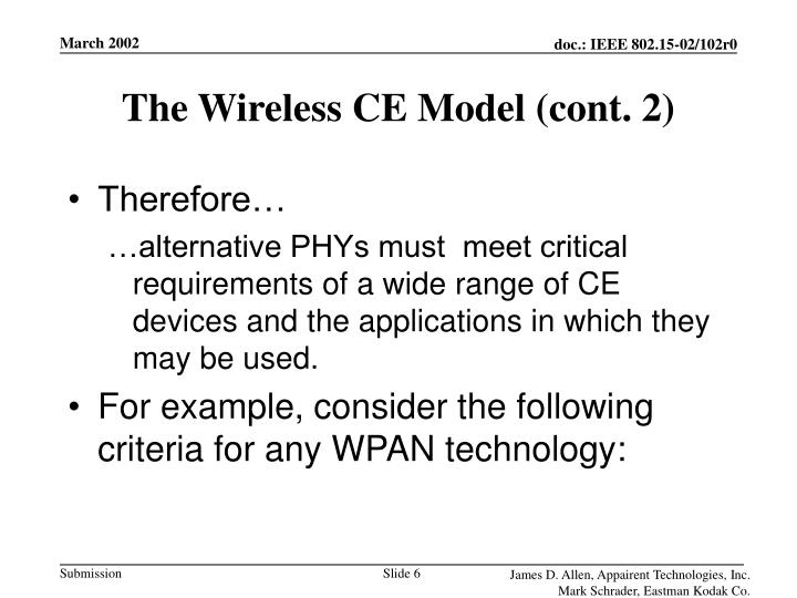 The Wireless CE Model (cont. 2)