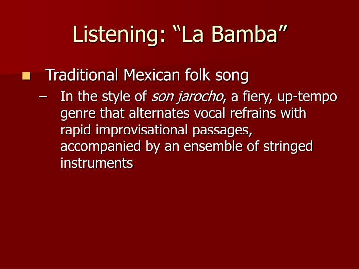 """Listening: """"La Bamba"""""""