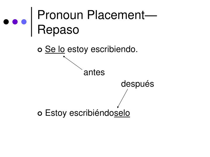 Pronoun placement repaso