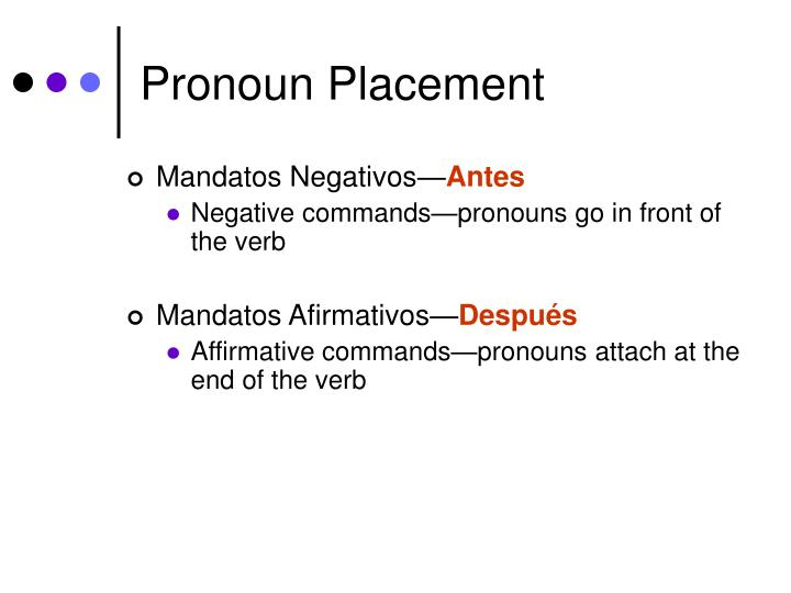 Pronoun Placement