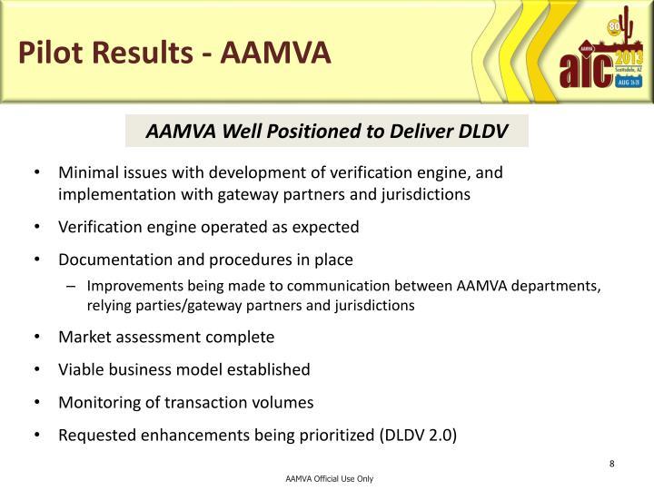 Pilot Results - AAMVA