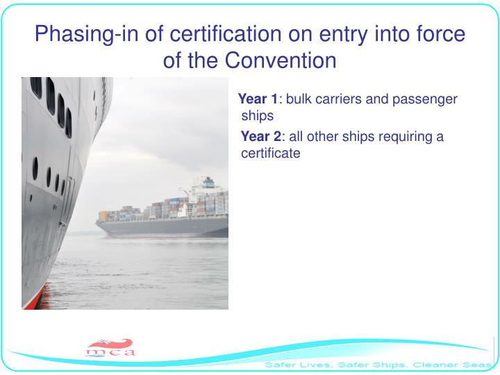 Phasing-in of certification on entry into force of the Convention