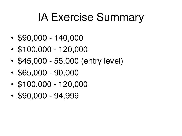 IA Exercise Summary