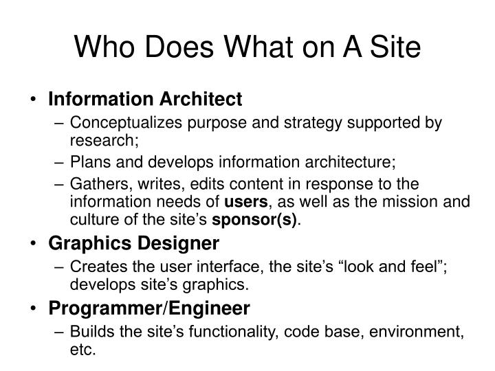 Who Does What on A Site