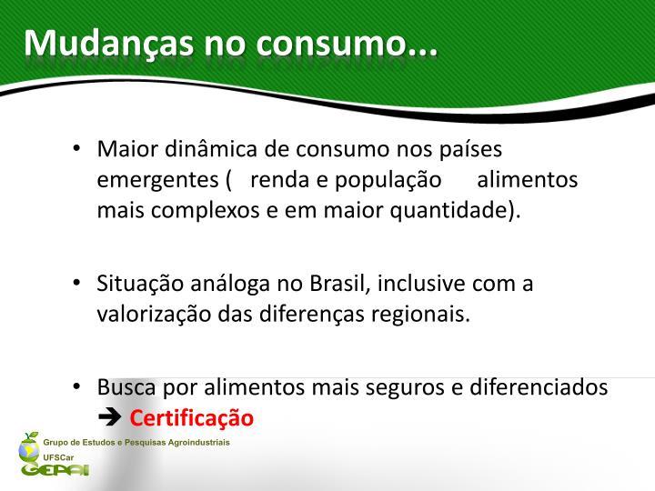 Mudanças no consumo...