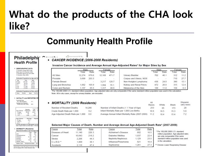 What do the products of the CHA look like?