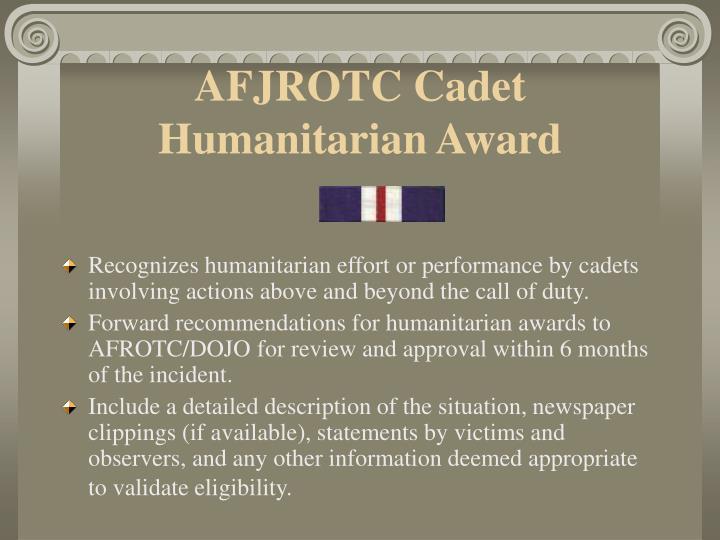 AFJROTC Cadet Humanitarian Award