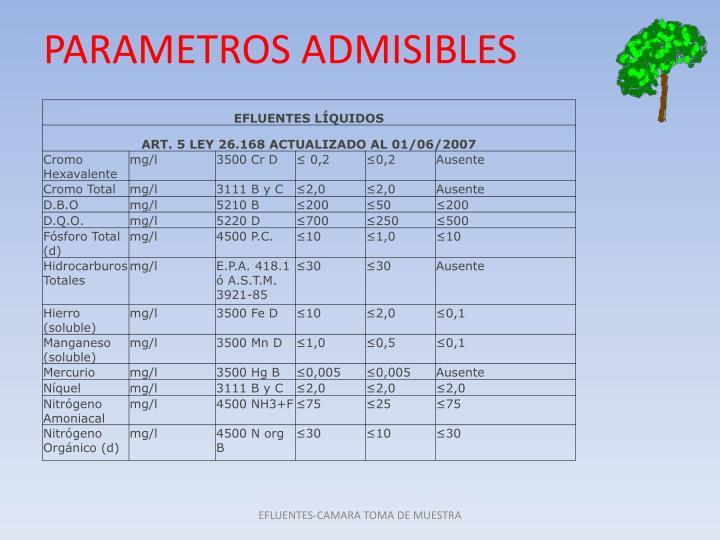 PARAMETROS ADMISIBLES