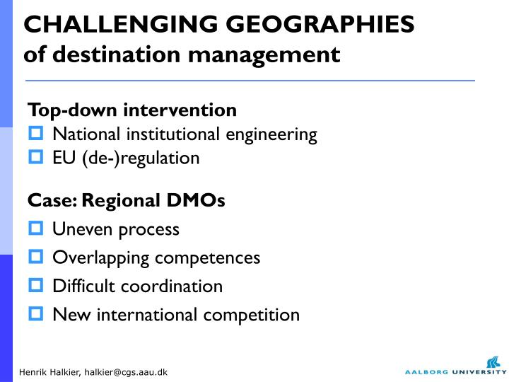 CHALLENGING GEOGRAPHIES
