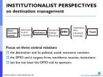 institutionalist perspectives on destination management
