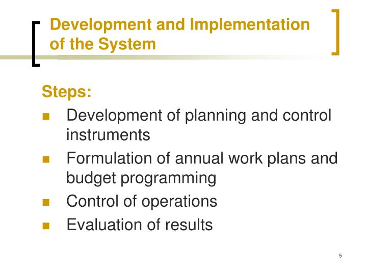 Development and Implementation of the System
