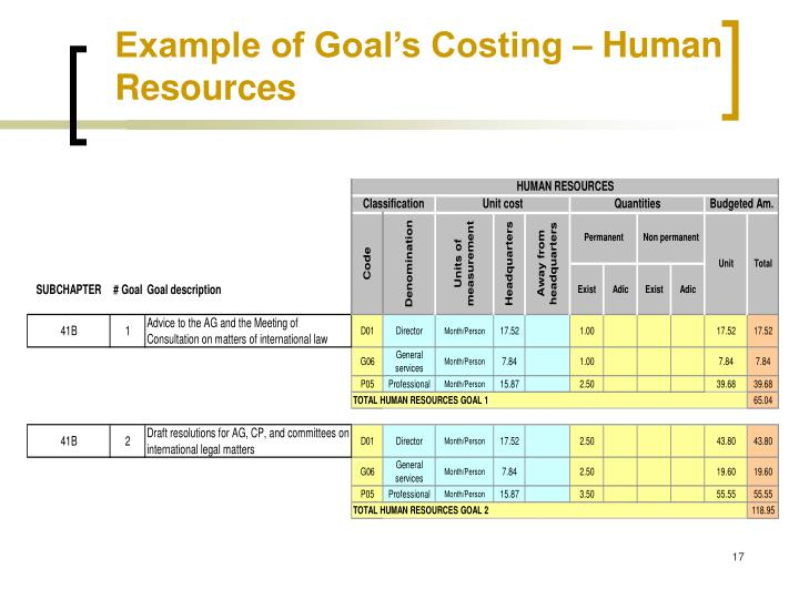 Example of Goal's Costing – Human Resources