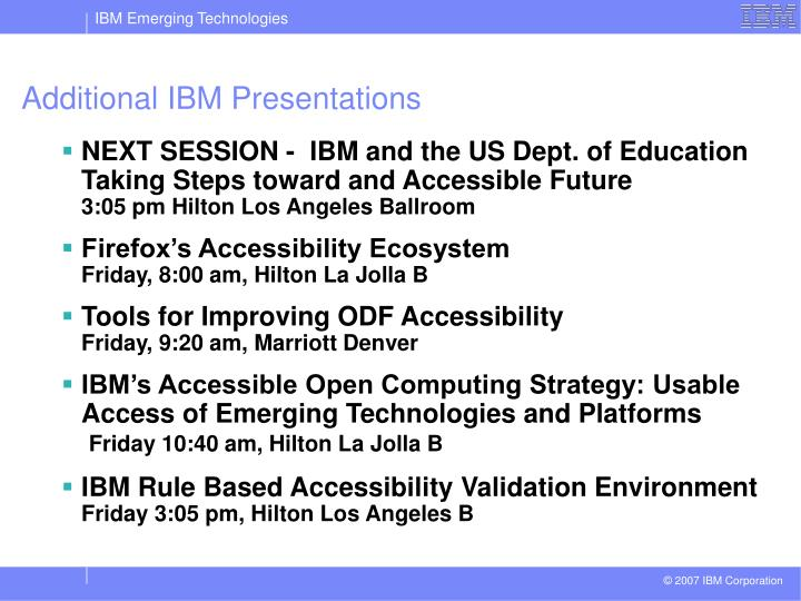 Additional IBM Presentations