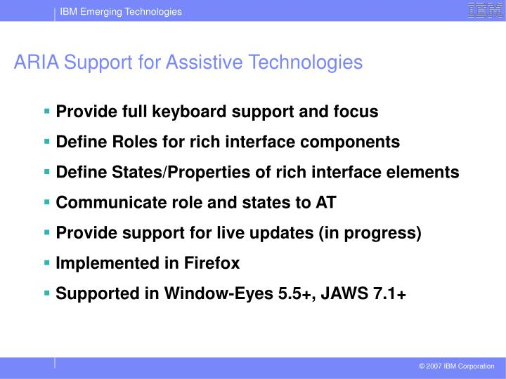 ARIA Support for Assistive Technologies