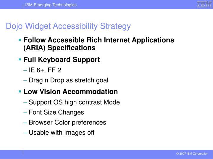Dojo Widget Accessibility Strategy