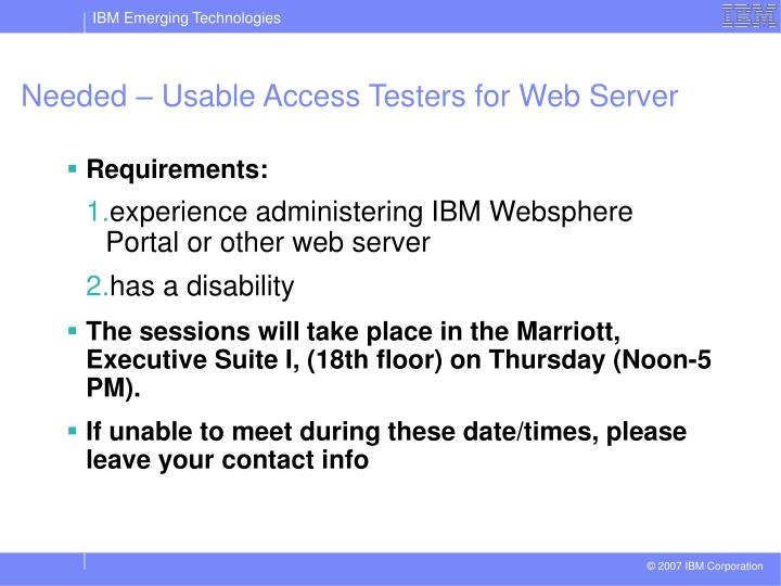 Needed – Usable Access Testers for Web Server