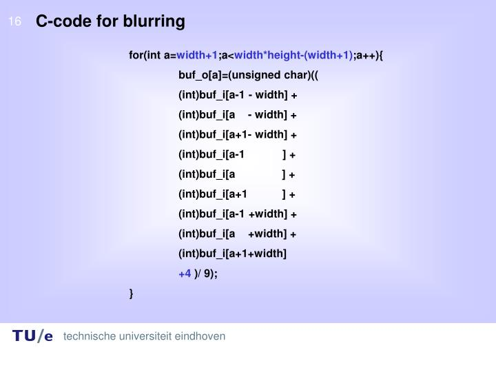 C-code for blurring