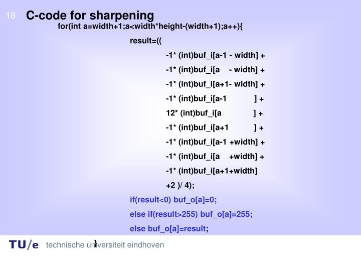 C-code for sharpening
