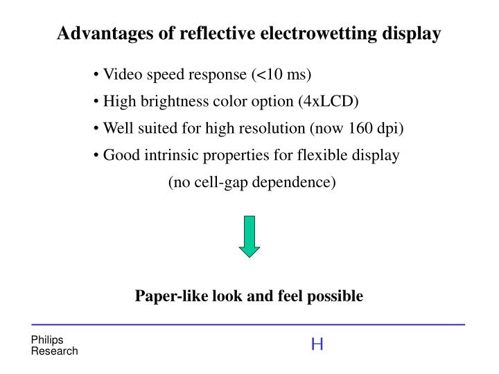 Advantages of reflective electrowetting display