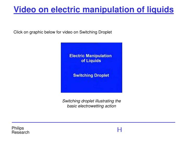 Video on electric manipulation of liquids