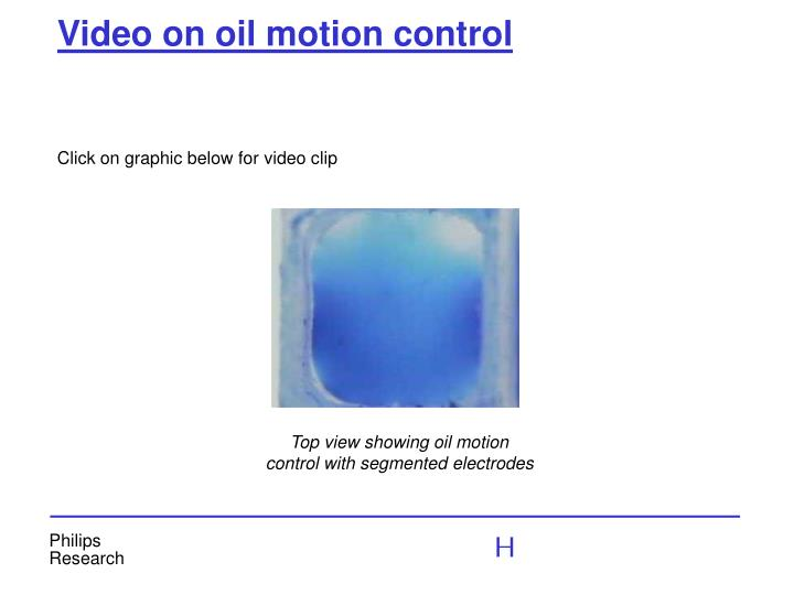 Video on oil motion control