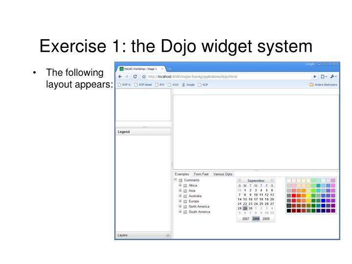 Exercise 1: the Dojo widget system