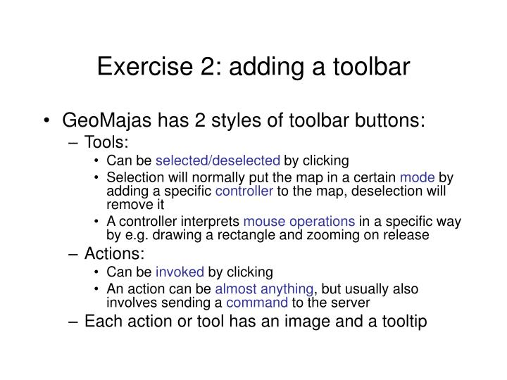 Exercise 2: adding a toolbar