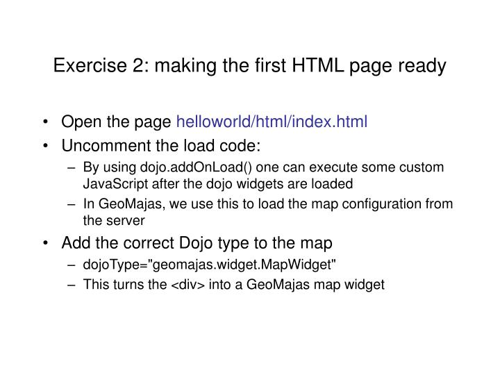 Exercise 2: making the first HTML page ready