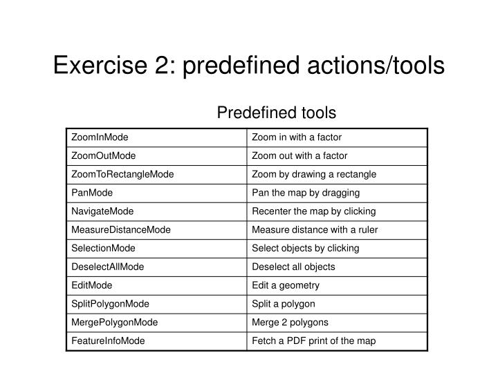Exercise 2: predefined actions/tools