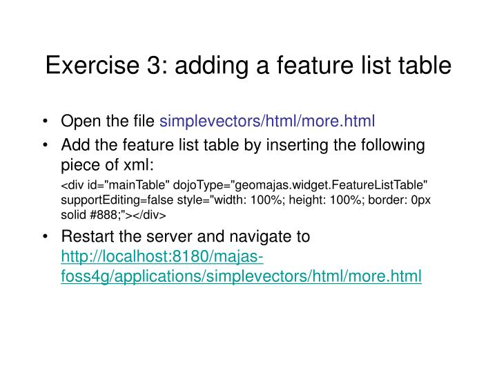 Exercise 3: adding a feature list table