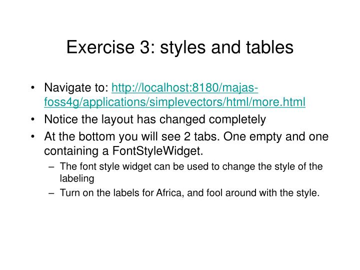 Exercise 3: styles and tables