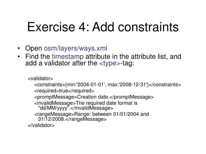 Exercise 4: Add constraints