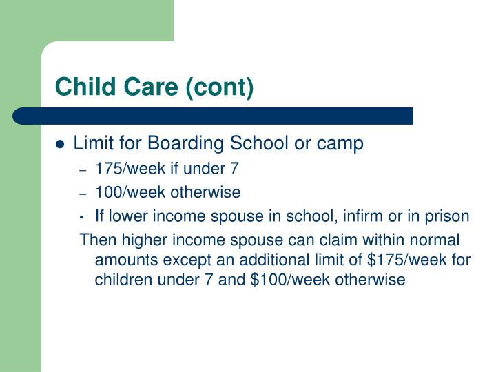 Child Care (cont)